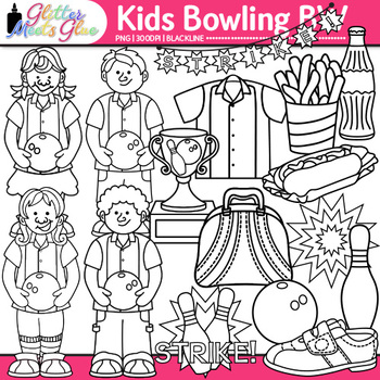 Kids Bowling League Clip Art {Sports Equipment for Gym Teachers, Coaches} B&W