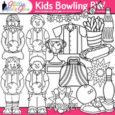 Kids Bowling Clip Art: Physical Education Graphics B&W {Gl