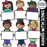 Kiddos with Blank Signs Clip art {Kids Clip art}