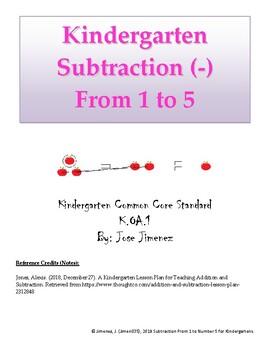 Kidergarten Subtraction: 1 to 5
