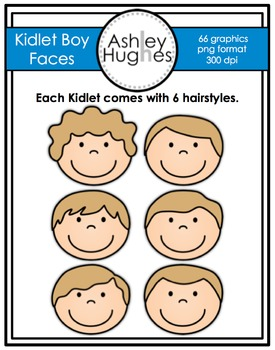 Kidlet Boy Faces Clipart {A Hughes Design}