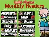 Kidlet Monthly Calendar Headers