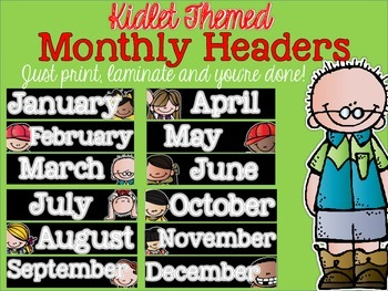 Kidlet Monthly Calendar Headers