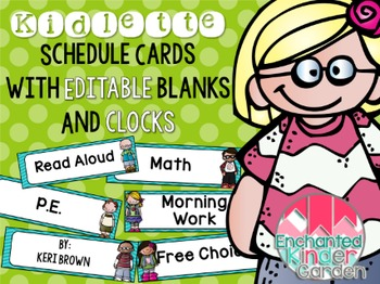 Kidlette Schedule Cards with Editables and Clocks
