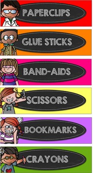 Kidlette School Supply Labels (Solid Colors)