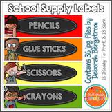 Kidlette School Supply Labels (Solid Colors)
