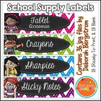Kidlette School Supply Labels (Chevron Pattern)