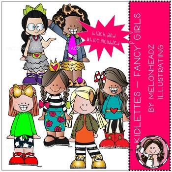 Kidlette clip art - Fancy Girls - Mini - Melonheadz Clipart