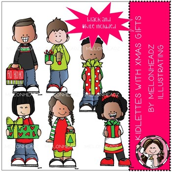 Kidlette clip art - with Xmas gifts - Mini - Melonheadz Clip art