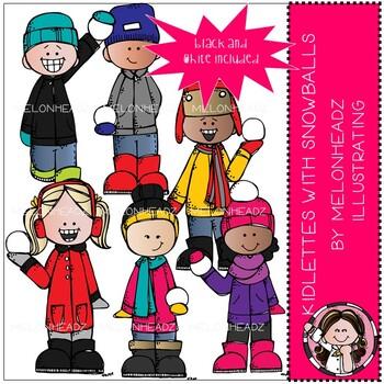 Kidlette clip art - with snowballs - Mini - Melonheadz Clipart