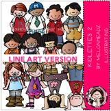 Kidlettes clip art 2 - LINE ART- by Melonheadz