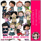 Kidlettes 4 clip art - BLACK AND WHITE- by Melonheadz