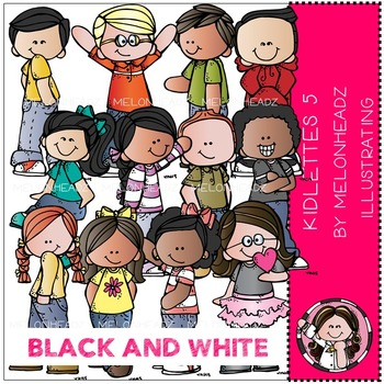 Kidlettes 5 clip art - BLACK AND WHITE - by Melonheadz
