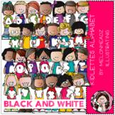 Kidlettes Alphabet clip art - Black and White - by Melonheadz