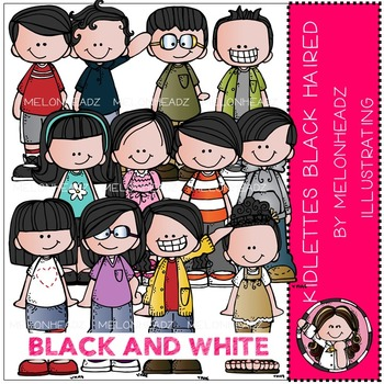 Kidlettes Black Haired by Melonheadz BLACK AND WHITE
