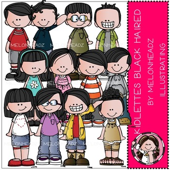 Kidlettes clip art - Black Haired - by Melonheadz