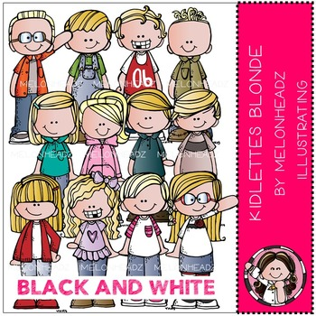 Kidlettes Blonde by Melonheadz BLACK AND WHITE