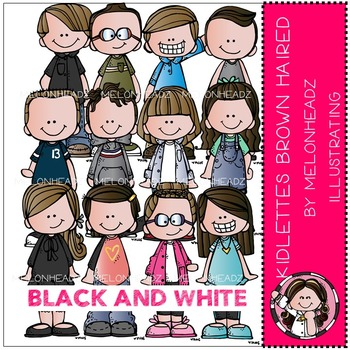 Kidlettes clip art - Brown Haired - BLACK AND WHITE- by Melonheadz