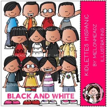 Kidlettes clip art - Hispanic - BLACK AND WHITE- by Melonheadz