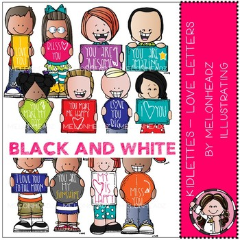 Kidlettes clip art - Love Letters - BLACK AND WHITE - Melonheadz Clipart