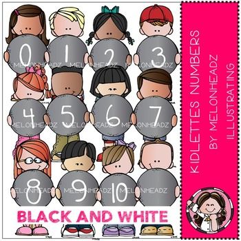 Kidlettes Numbers clip art - BLACK AND WHITE- by Melonheadz