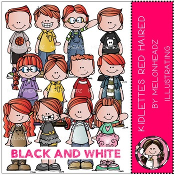 Kidlettes Red Haired by Melonheadz BLACK AND WHITE