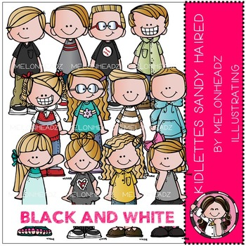 Kidlettes Sandy Haired by Melonheadz BLACK AND WHITE