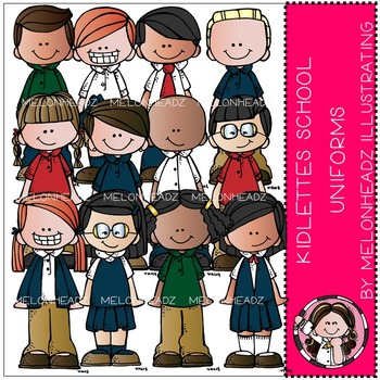 Kidlettes School Uniforms clip art - COMBO PACK - by Melonheadz