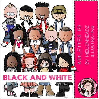 Kidlettes clip art - 10 - BLACK AND WHITE - by Melonheadz