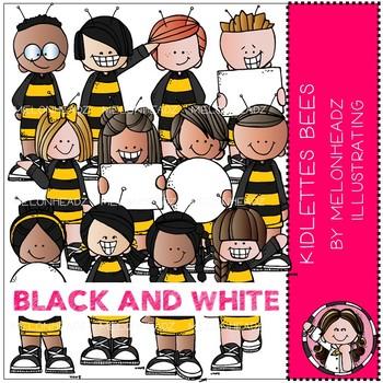 Kidlettes clip art - Bees - BLACK AND WHITE - Melonheadz Clipart