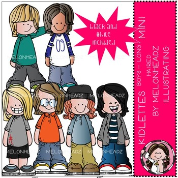 Kidlettes clip art - Boys - Long Hair - Mini - by Melonheadz