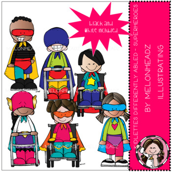 Kidlettes clip art - Differently Abled - Superheroes - Mini - by Melonheadz