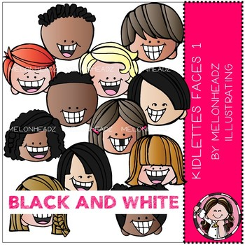 Kidlettes clip art - Faces 1 - BLACK AND WHITE - by Melonheadz