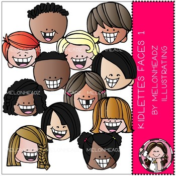Kidlettes clip art - Faces 1 - COMBO PACK - by Melonheadz