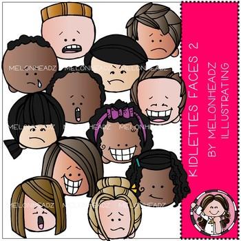Kidlettes clip art - Faces 2 - COMBO PACK - by Melonheadz