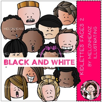 Kidlettes clip art - Faces - BLACK AND WHITE - by Melonheadz