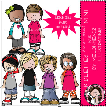 Kidlettes clip art - Girls - Short Hair - Mini - by Melonheadz