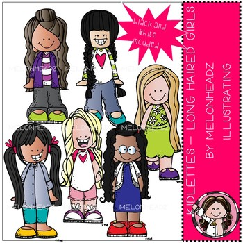 Kidlettes clip art - Long Haired Girls - Mini - by Melonheadz