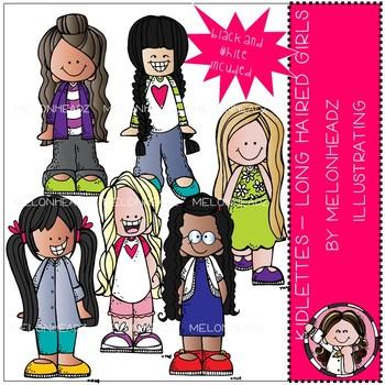 Kidlettes clip art - Long Haired Girls - Mini - Melonheadz Clipart