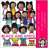 Kidlettes clip art - Of Color - Girls - BLACK AND WHITE -