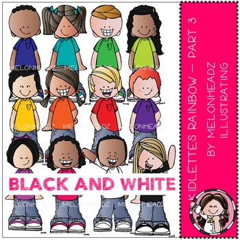 Kidlettes clip art - Rainbow - Set 3 - BLACK AND WHITE - Melonheadz Clipart