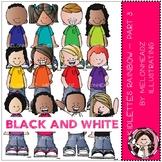 Kidlettes clip art - Rainbow - Set 3 - BLACK AND WHITE - b