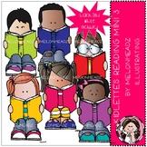 Kidlettes clip art - Reading - Set 3 - Mini - Melonheadz Clipart