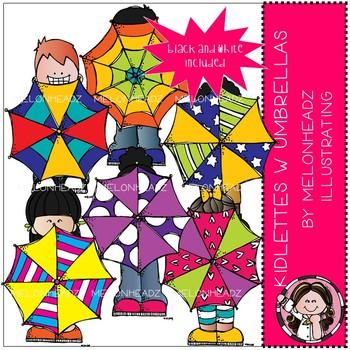 Kidlettes clip art - With Umbrellas - Mini - Melonheadz Clipart