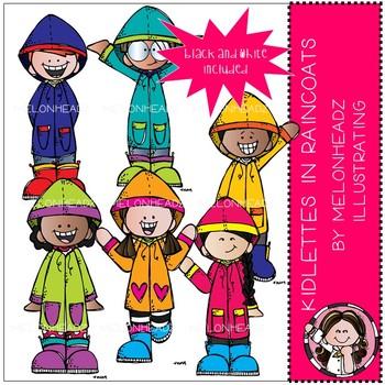 Kidlettes clip art - in raincoats - Mini - Melonheadz Clipart
