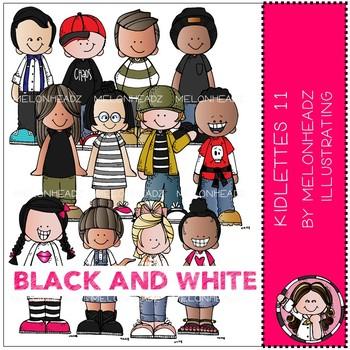 Kidlettes clip art - set 11 - BLACK AND WHITE - by Melonheadz