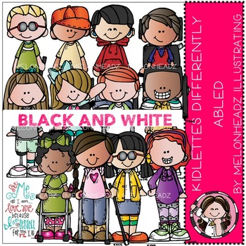 Kidlettes clip art - differently-abled - BLACK AND WHITE- by Melonheadz
