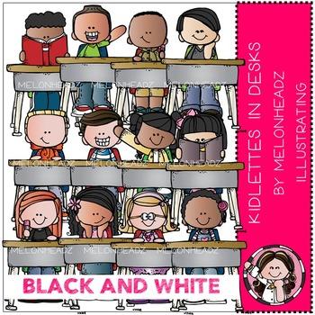 Kidlettes in Desks clip art - BLACK AND WHITE - by Melonheadz