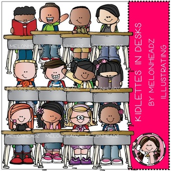 Kidlettes in Desks clip art - COMBO PACK - by Melonheadz