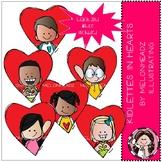 Kidlettes in Hearts clip art - Mini - Melonheadz Clipart